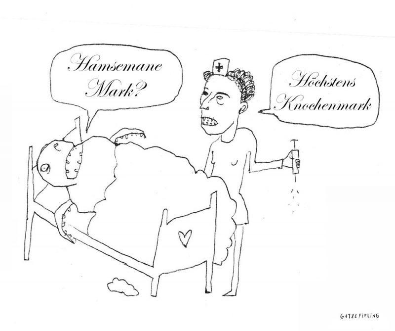 Im Krankenhaus: Der kafkaeske Käfer will eine Mark. Aber es gibt nur Knochenmark.