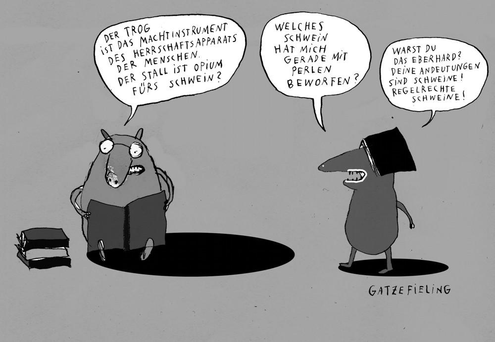 Schweine in der Bibliothek II